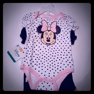Baby Girls Minnie Mouse 2 pack  BodySuits
